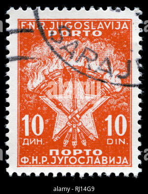 Postage stamp from the former state of Yugoslavia in the Postage due stamps series issued in 1951 - Stock Photo