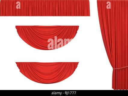 Set of red curtains and pelmet drapery for interior, performance event, isolated on white background. Vector illustration - Stock Photo