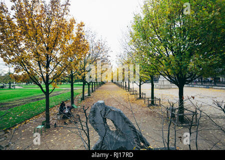 PARIS, FRANCE - NOVEMBER 10, 2018 - Garden of Tuileries (Jardin des Tuileries) outside the Louvre in Paris, France - Stock Photo