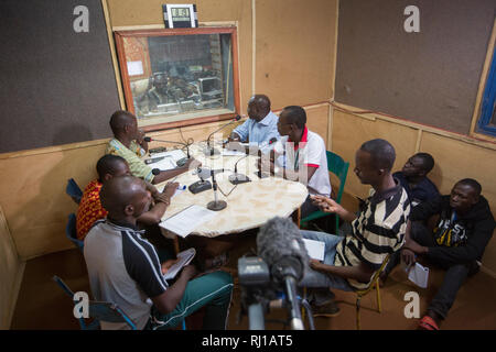 Yako town, Burkina Faso : Educational radio programme on nutrition and food security  being broadcast live at  Natigmbzanga Radio. - Stock Photo