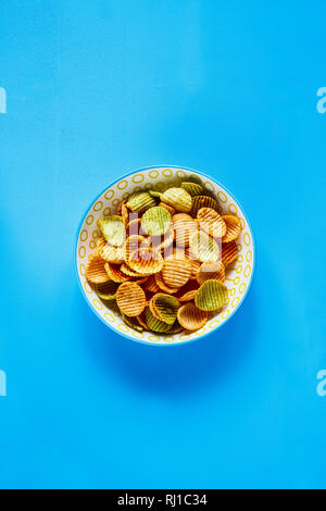 Veggie chips in bowl flat lay - Stock Photo
