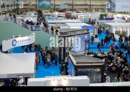 London, UK, 3rd February 2019, Destinations The Holiday and Travel Show. - Stock Photo