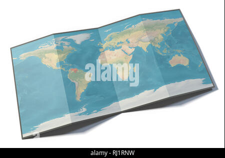 World map, Venezuela, drawn on a folded sheet, planisphere leaning on a surface, 3d rendering. Physical map - Stock Photo