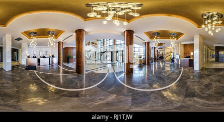 MINSK, BELARUS - AUGUST , 2013: Full spherical 360 degrees seamless panorama in panorama in guestroom hall reception of modern luxury hotel in equirec - Stock Photo