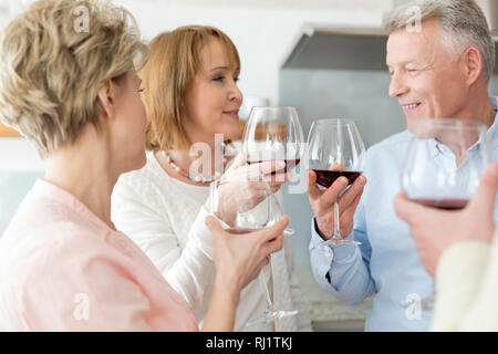 Happy mature couple toasting wineglasses by friends at home - Stock Photo