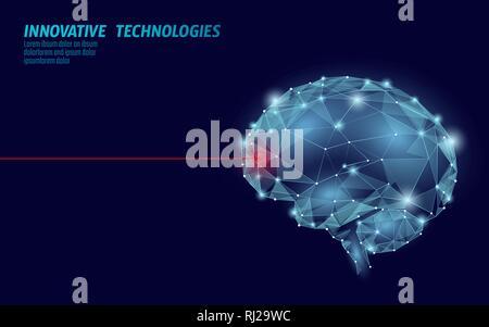Brain treatment low poly 3D render. Drug nootropic human ability stimulant smart mental health. Medicine cognitive rehabilitation in Alzheimer disease - Stock Photo
