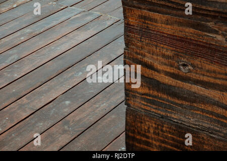 Wet brown wooden wall and floor, wooden texture background - Stock Photo