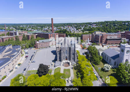 Lowell Immaculate Conception Church aerial view in Lowell, Massachusetts, USA. - Stock Photo