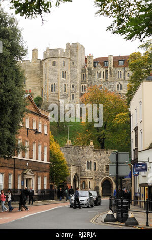 Queen Victoria statue and King Henry VIII Gate, Henry III Tower and Round Tower in Lower Ward of Windsor Castle royal residence in Windsor, Berkshire, - Stock Photo