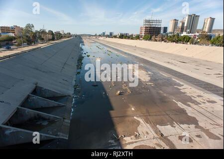 Tijuana, Mexico: Tijuana river's canal. - Stock Photo
