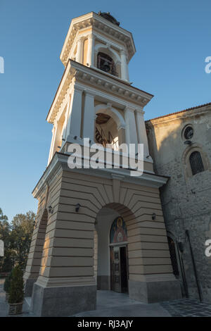 Colorful bell tower at entrance to Assumption of the Holy Virgin Church in Plovdiv's Old Town, Bulgaria - Stock Photo
