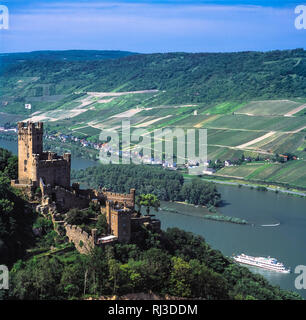 Sooneck Castle (German: Burg Sooneck) is a castle in the upper middle valley of the Rhine, in the Mainz-Bingen district of Rhineland-Palatinate, Germa - Stock Photo