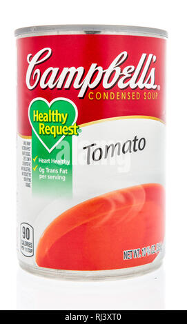Winneconne, WI - 2 Feb 2019: A can of Campbells healthy request soup in tomato on an isolated background - Stock Photo