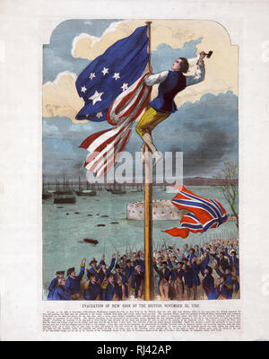 Print showing a man on a flagpole replacing the British flag with an American flag as the British fleet departs New York Harbor. Includes lengthy descriptive text. - Stock Photo