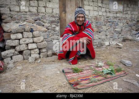 Bolivien, Cordillera Apolobamba, Kallawaya, Heiler, Heilkr‰uter, Tracht, - Stock Photo