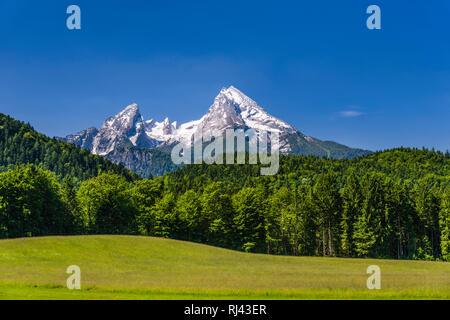 Deutschland, Bayern, Oberbayern, Berchtesgadener Land, Bischofswiesen, Blick auf Watzmann, - Stock Photo