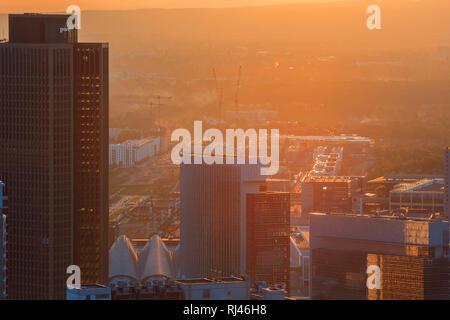 Europa, Deutschland, Hessen, Frankfurt, Hochhäuser Kastor, Pollux und Tower 185 im Sonnenuntergang bei Gegenlicht - Stock Photo