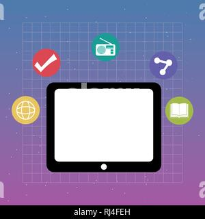 tablet with applications menu vector illustration design - Stock Photo