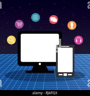 computer display with multimedia apps vector illustration design - Stock Photo