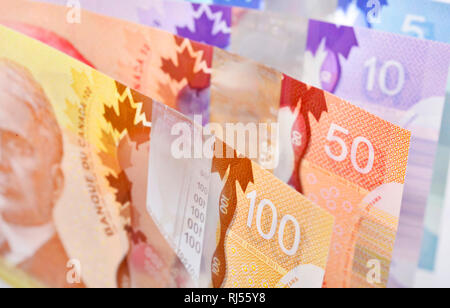 Background shot of Canadian banknotes - Stock Photo