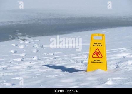Yellow Warning Notice Caution People Slippery Wet