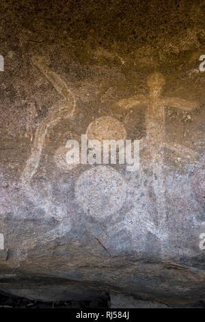 Rock paintings, Chongoni Rock-Art Area, Unesco world heritage sight, Malawi - Stock Photo