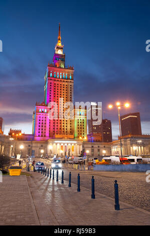 Rainbow colors at Palace of Culture and Science, Palac Kultury i Nauki, PKiN, in central Warsaw, Poland, Dec, 2013, - Stock Photo