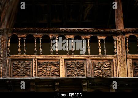 Typischer kanarischer Holzbalkon, La Casa de los Balcones, La Orotava, Teneriffa, Kanarische Inseln, Spanien - Stock Photo