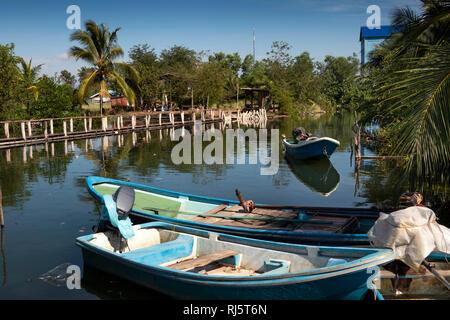Cambodia, Preah Koh Kong, Krong Khemara Phoumin, boats moored at Number 1 fishing village - Stock Photo