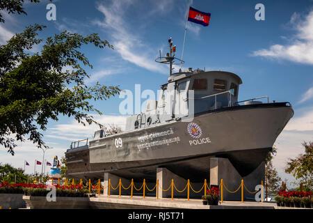 Cm205 Cambodia, Preah Koh Kong, Krong Khemara Phoumin, Cambodian Police patrol boat displayed next to Prek Kaoh Pao river - Stock Photo