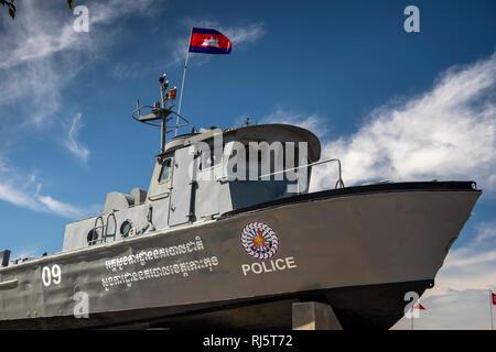Cambodia, Preah Koh Kong, Krong Khemara Phoumin, Cambodian Police patrol boat next to Prek Kaoh Pao river - Stock Photo