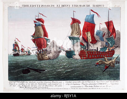 Vue d'optique showing naval battle during Revolutionary War between John Paul Jones of the Bonhomme Richard and Capt. Richard Pearson of the British naval vessel Serapis, Sept. 22, 1779. - Stock Photo