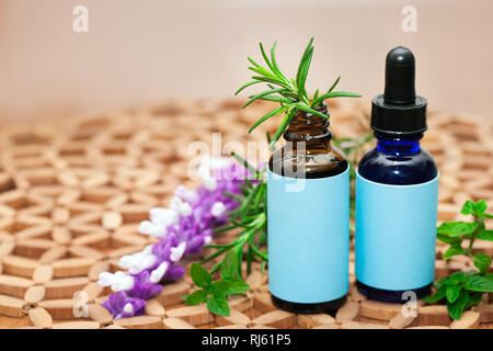 Naturopathic medicine showing a holistic approach using natural plants and herbs in glass bottles. Stock Photo