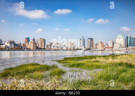 1 December 2018: Shanghai, China - The east bank of the Huangpu River on the Pudong side, opposite The Bund, Shanghai. - Stock Photo