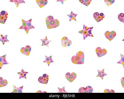 Seamless pattern made from abstract stars and hearts. Stars and hearts from different spring flowers. Isolated elements on a white background. Vector  - Stock Photo