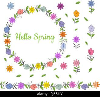 Colorful wreath made from different spring flowers and leaves. Beautiful welcoming lettering. Endless horizontal brush. Seamless horizontal border. Ve - Stock Photo