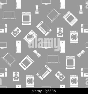 Household electrical appliances seamless pattern. Vector illustration. - Stock Photo