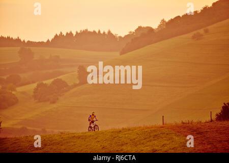 Mountainbiker allein auf einer Wiese am Morgen im Schwarzwald - Stock Photo
