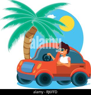 man driving tourism little car in seascape vector illustration design - Stock Photo