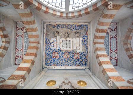 Interior of the Tombs of Sultans Mehmed III, Selim II, Murad III, İbrahim I and Mustafa I located on the territory of Hagia Sophia museum - Istanbul - Stock Photo