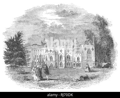 Strawberry Hill House built in Twickenham, south-west London, reviving the Gothic style some decades before  Victorian successors. It was built by Horatio Walpole, 4th Earl of Orford (1717-1797), also known as Horace Walpole, the son of the first British Prime Minister, Sir Robert Walpole, was Whig politician, art historian, man of letters, antiquarian and an English writer whose literary reputation rests on the first Gothic novel, The Castle of Otranto (1764), and his Letters, which are of significant social and political interest. - Stock Photo