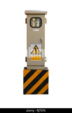 Electrical control box isolated on white background. - Stock Photo