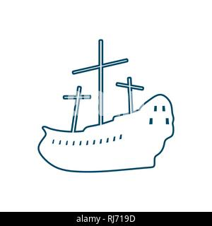 ancient ship contour - Stock Photo