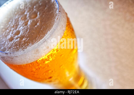 Oktoberfest, Blurred image, glass, foam, beer, macro, close up - Stock Photo
