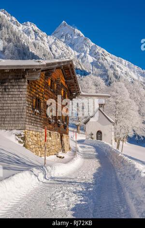 Gerstruben, ein ehemaliges Bergbauerndorf im Dietersbachtal bei Oberstdorf, dahinter die Höfats, 2259m, Allgäuer Alpen, Allgäu, Bayern, Deutschland, E - Stock Photo