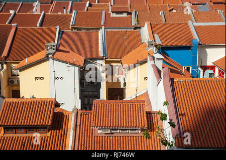 01.02.2019, Singapore, Republic of Singapore, Asia - An elevated view of traditional shophouses in Singapore's Chinatown district. - Stock Photo