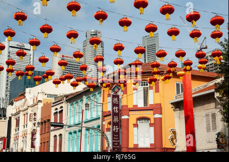 02.02.2019, Singapore, Republic of Singapore, Asia - Annual street decoration with lanterns along South Bridge Road for the Chinese Lunar New Year. - Stock Photo