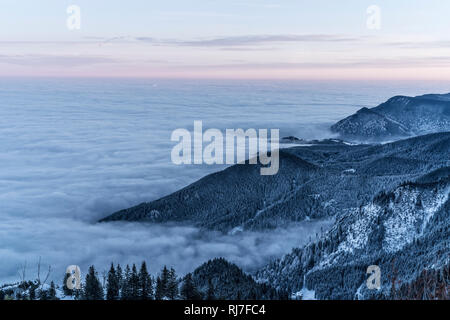 Berglandschaft im Winter am Tegelberg in Süddeutschland, - Stock Photo