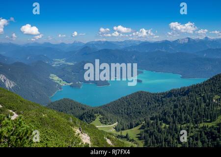 Deutschland, Bayern, Bayerische Alpen, Walchensee, Blick vom Herzogstand auf den sommerlichen Walchensee - Stock Photo