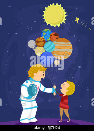 Illustration of a Stickman Father Astronaut Giving His Son Balloons Made from Planets and the Sun - Stock Photo